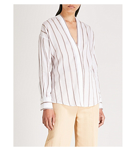 VINCE V-neck striped cotton-blend shirt (Optic+white