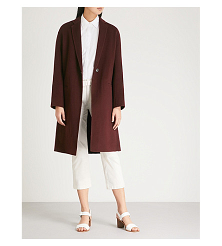 VINCE Single-breasted wool-blend coat (Black+cherry