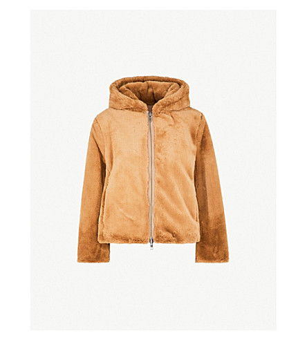 VINCE Chunky faux-fur hoody (Camel