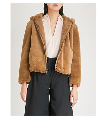 VINCE Chunky faux-fur hoody (Camel