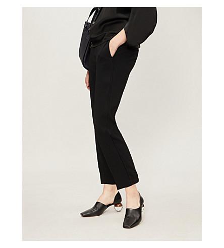 VINCE Waist-tie high-rise crepe trousers (Black
