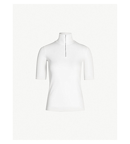 VINCE Funnel-neck cotton-jersey top (Optic white