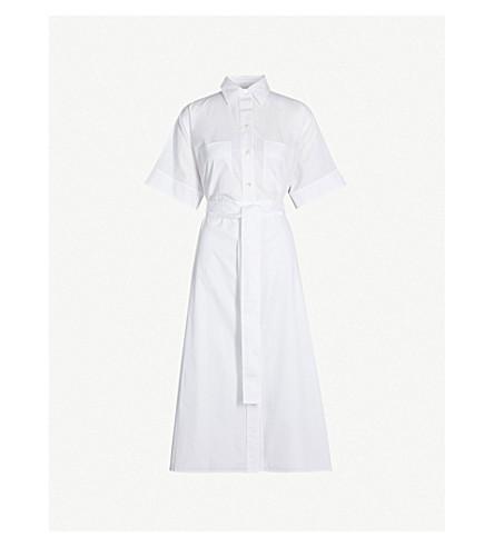 VINCE Belted cotton-poplin midi dress (Optic white