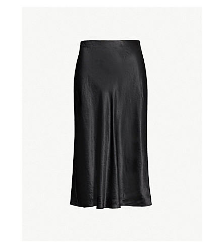 VINCE Flared high-rise crushed satin midi skirt (Black