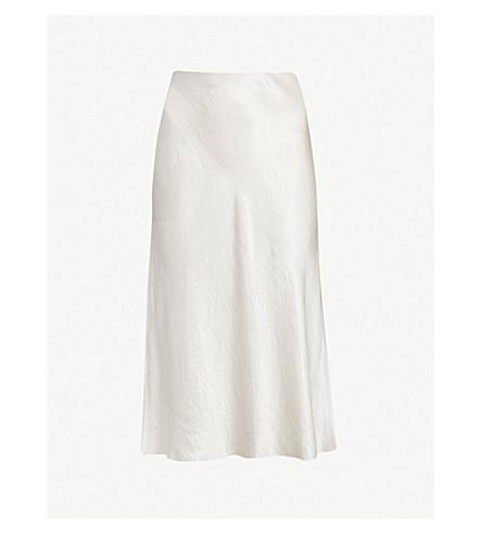 VINCE Flared high-rise crushed satin midi skirt (Champagne
