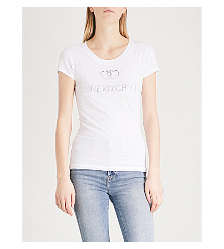 LOVE MOSCHINO Crystal-embellished stretch-cotton T-shirt (Optical+white