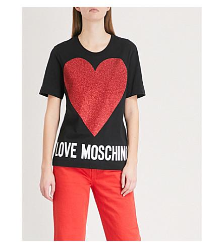 LOVE MOSCHINO Glitter heart cotton-jersey T-shirt (Black