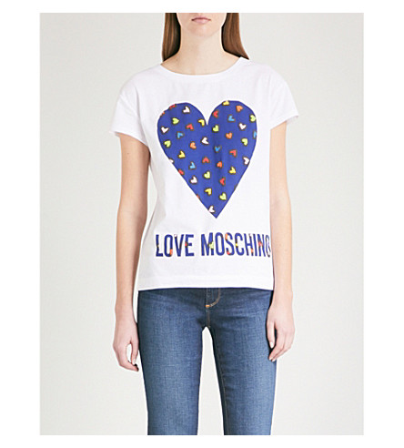 LOVE MOSCHINO Heart Logo-print stretch-cotton T-shirt (Optical+white