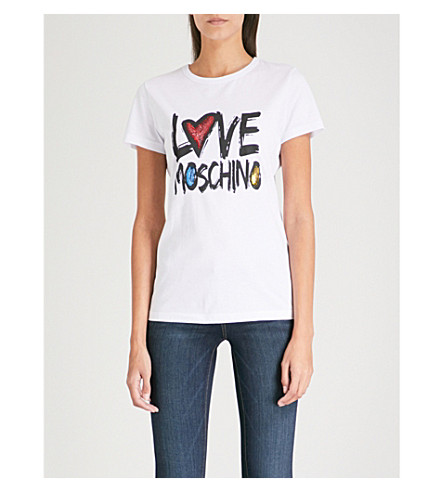 LOVE MOSCHINO Sequinned logo-print cotton-jersey T-shirt (Optical+white