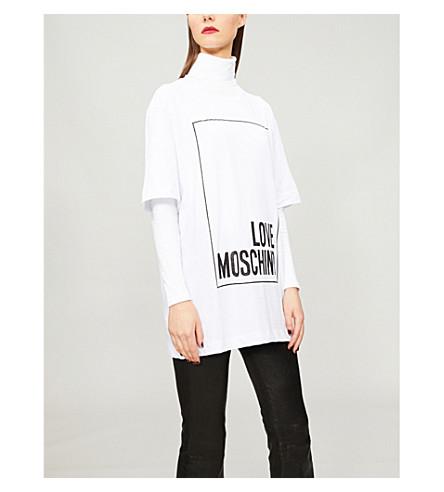 LOVE MOSCHINO Metallic logo-print cotton-jersey T-shirt (White