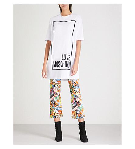 LOVE MOSCHINO Logo-print cotton-jersey T-shirt dress (Optical+white