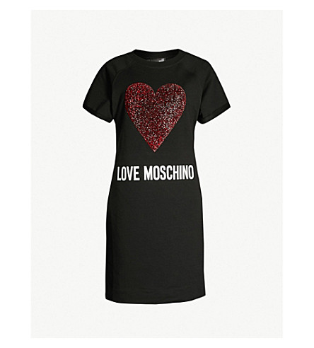 LOVE MOSCHINO Glitter heart cotton-jersey mini dress (Black