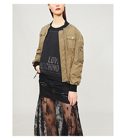 LOVE MOSCHINO Metallic logo-print stretch-cotton sweatshirt (Black
