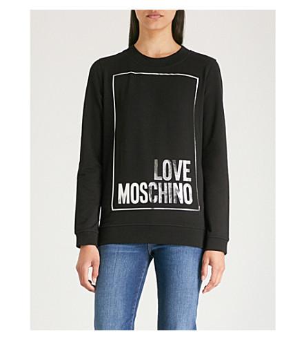 con de LOVE elástico MOSCHINO logo de algodón Sudadera estampado negra 7Px76