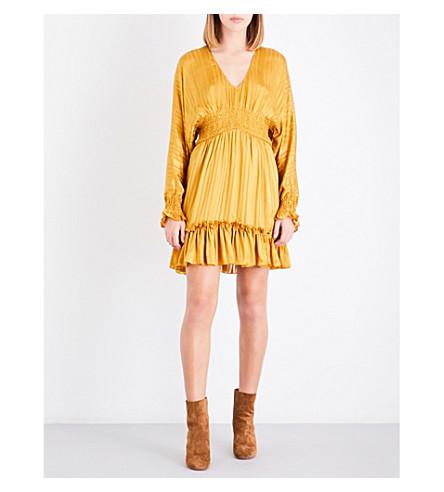 ULLA JOHNSON Odette silk mini dress (Gold