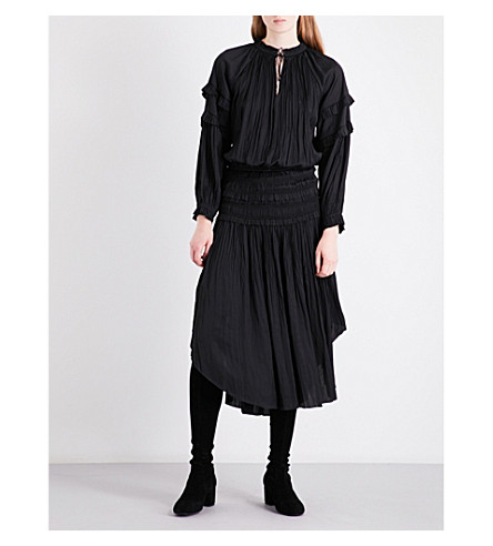 ULLA JOHNSON Elizabeth pleated midi dress (Noir