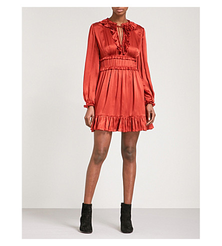 ULLA JOHNSON Callista ruffled silk-satin mini dress (Crimson