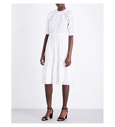 ULLA JOHNSON Martha floral-detail cotton dress (Blanc