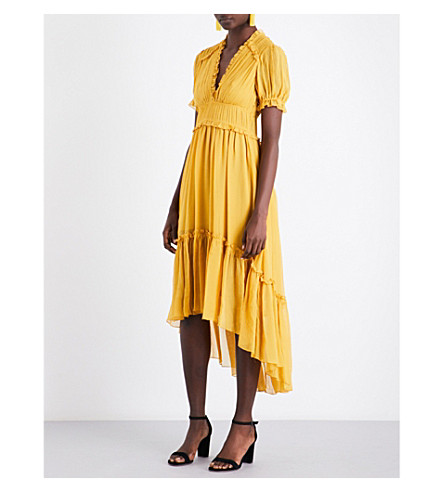 ULLA JOHNSON Sonja pleated silk dress (Honey