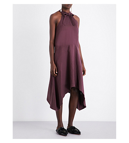 ULLA JOHNSON Liz asymmetric woven dress (Bordeaux