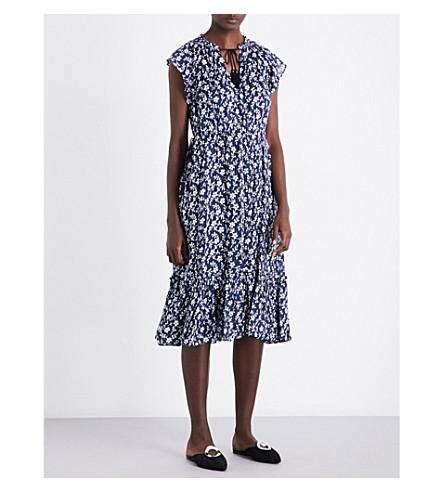 ULLA JOHNSON Elsa cotton and silk-blend blouse (Navy