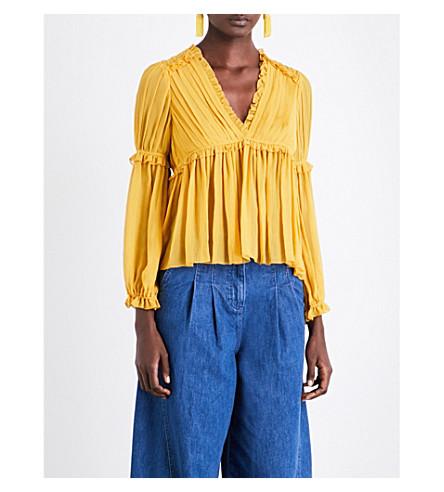 ULLA JOHNSON Silvia silk blouse (Honey
