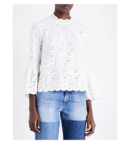 ULLA JOHNSON Grace cotton and linen-blend top (Blanc