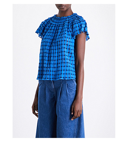 ULLA JOHNSON Yuri cotton top (Cobalt