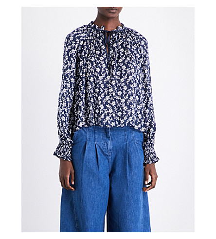 ULLA JOHNSON Natalia cotton and silk-blend blouse (Navy