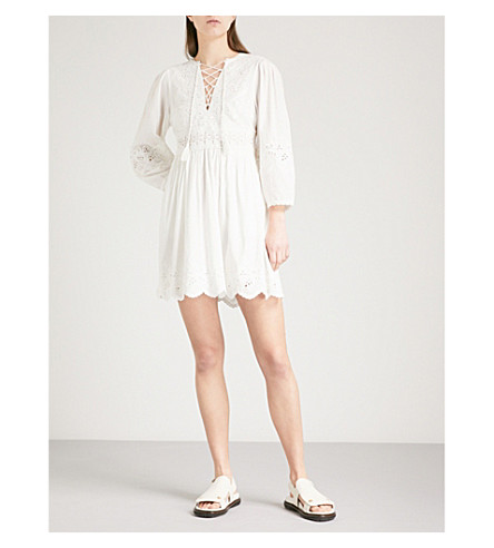 ULLA JOHNSON Ailey cotton and linen-blend mini dress (Blanc