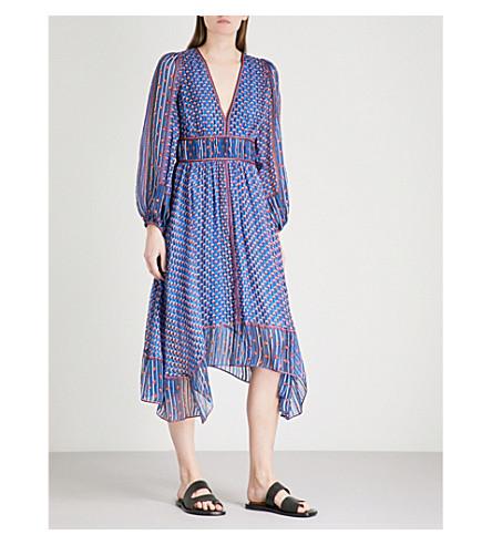ULLA JOHNSON Amabelle abstract-motif silk-chiffon dress (Cerulean