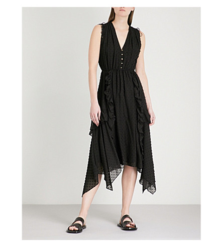 ULLA JOHNSON Aurelle sleeveless silk-blend dress (Noir