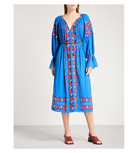 ULLA JOHNSON Filia embroidered cotton midi dress (Cobalt
