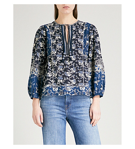 ULLA JOHNSON Rami cotton-blend blouse (Indigo