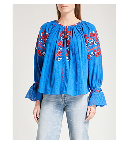ULLA JOHNSON Devra embroidered cotton blouse (Cobalt