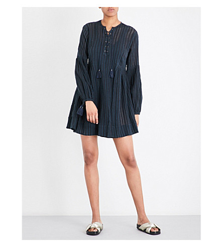 ULLA JOHNSON Helena striped cotton-gauze mini dress (Indigo