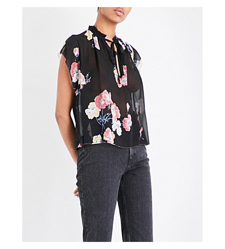 ULLA JOHNSON Saadi neck-tie silk-chiffon blouse (Noir