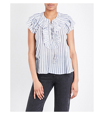 ULLA JOHNSON Eugenie striped cotton-gauze blouse (Marine
