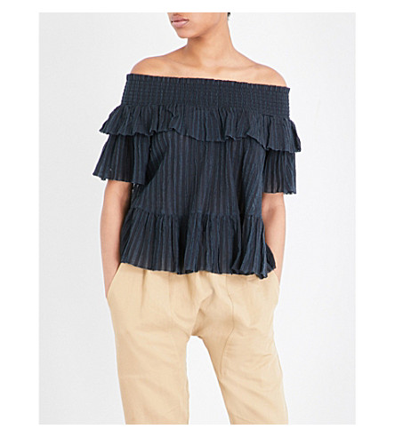 ULLA JOHNSON Kasia off-the-shoulder cotton-gauze blouse (Indigo