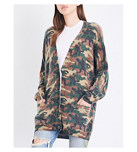 NSF Roger wool and cashmere-blend cardigan (Camo