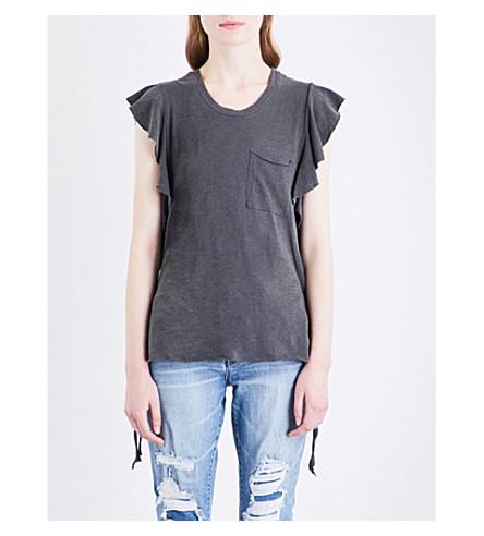 NSF Makayla ruffled-sleeve cotton-jersey T-shirt (Pigment+black