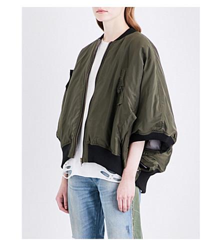 NSF Motley batwing-sleeve shell jacket (Green+olive