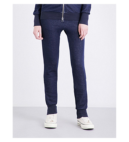 NSF Jacey relaxed-fit mid-rise cotton-jersey jogging bottoms (Navy