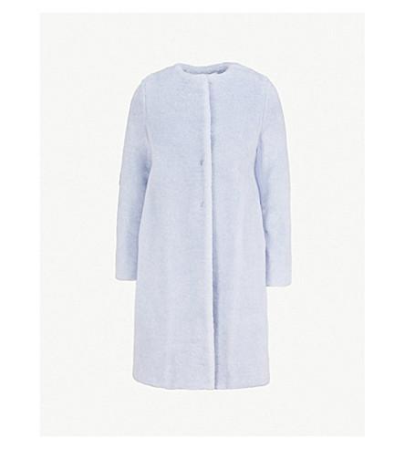 HARRIS WHARF LONDON Collarless alpaca-blend coat (Sky