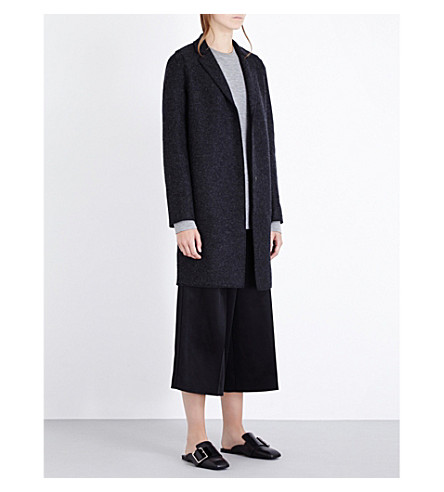 HARRIS WHARF LONDON Single-breasted wool cocoon coat (Anthracite
