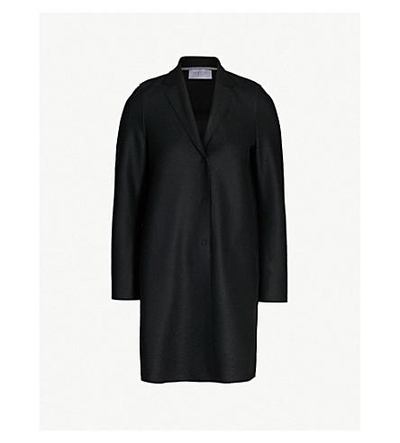 HARRIS WHARF LONDON Single-breasted wool cocoon coat (Black
