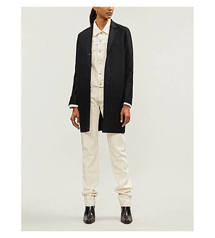 HARRIS WHARF LONDON Single-breasted wool cocoon coat (Black