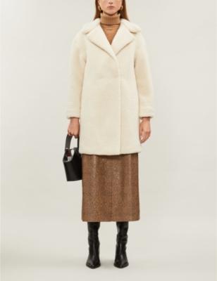 Longline shearling coat