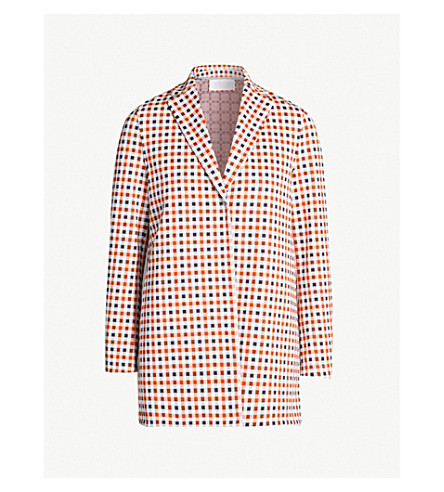 HARRIS WHARF LONDON Checked single-breasted woven jacket (Red