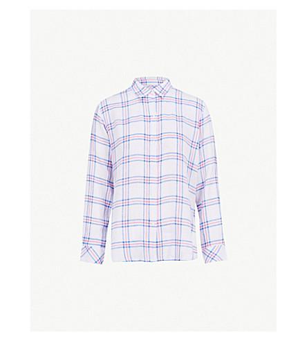 RAILS Sydney checked linen-blend shirt (Raspberry+azure+white